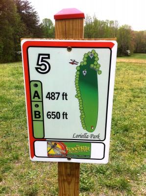 Loriella Park, Main course, Hole 5 Hole sign