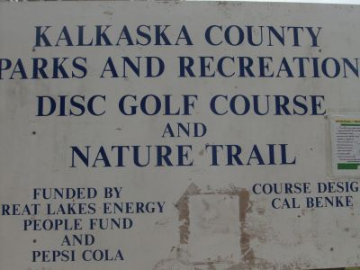Log Lake Park, Main course, Hole 1 Hole sign