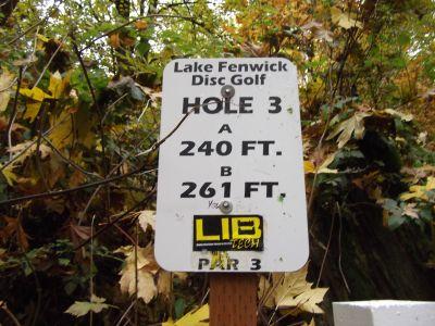 Lake Fenwick, Main course, Hole 3 Hole sign