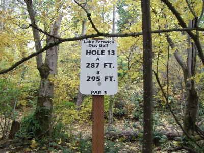Lake Fenwick, Main course, Hole 13 Hole sign