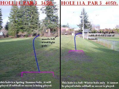 Yauger Park, Main course, Hole 11 Tee pad