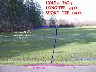 Yauger Park, Main course, Hole 6 Tee pad