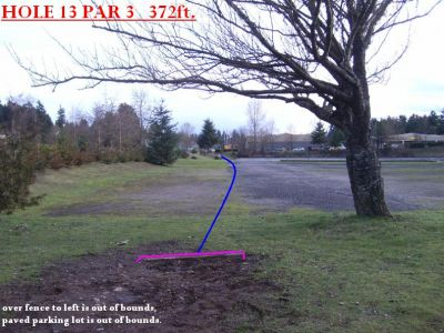 Yauger Park, Main course, Hole 13 Tee pad