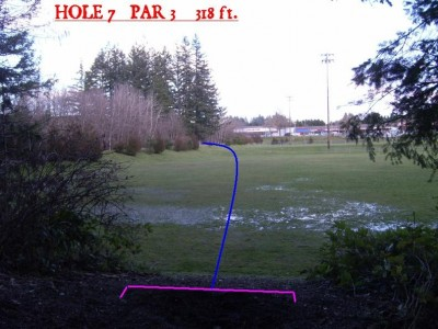 Yauger Park, Main course, Hole 7 Tee pad
