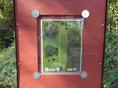 Riverside, Main course, Hole 9 Hole sign