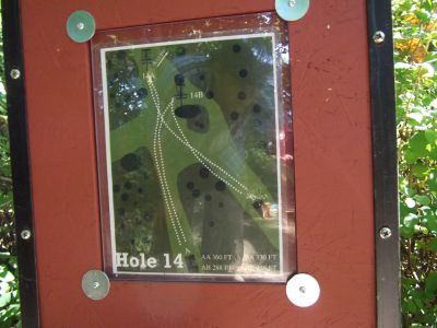 Riverside, Main course, Hole 14 Hole sign
