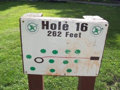 Grand Woods Park, Main course, Hole 16 Hole sign