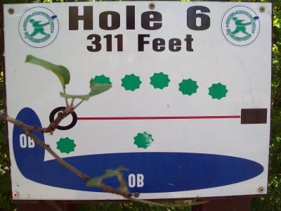 Grand Woods Park, Main course, Hole 6 Hole sign