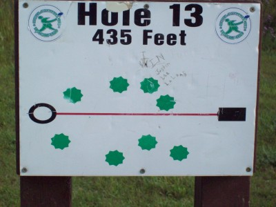 Grand Woods Park, Main course, Hole 13 Hole sign