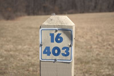 Addison Oaks County Park, Main course, Hole 16 Hole sign