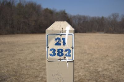 Addison Oaks County Park, Main course, Hole 21 Hole sign