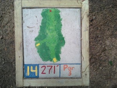 Fallasburg Park, Main course, Hole 14 Hole sign