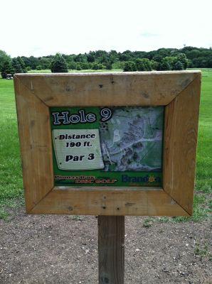 Pioneer Park, Main course, Hole 9 Hole sign