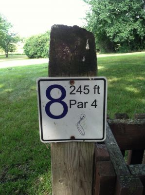 Lake Herman, Main course, Hole 8 Hole sign