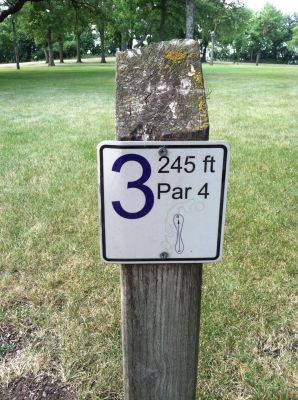 Lake Herman, Main course, Hole 3 Hole sign