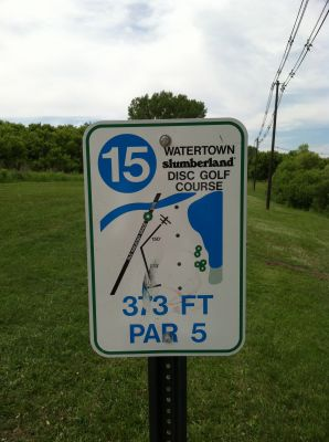 Watertown Slumberland, Main course, Hole 15 Hole sign