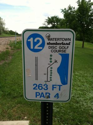 Watertown Slumberland, Main course, Hole 12 Hole sign