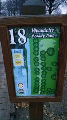 Wyandotte County Park, Main course, Hole 18 Hole sign