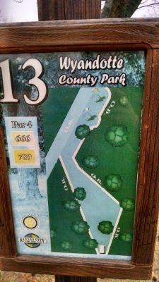 Wyandotte County Park, Main course, Hole 13 Hole sign