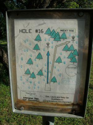 Veteran's Park, Main course, Hole 16 Hole sign