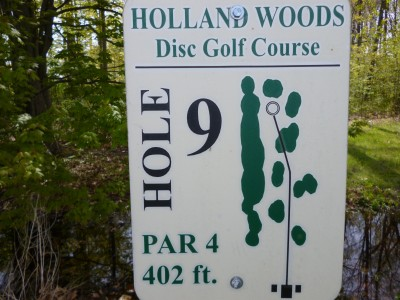 Holland Woods, Main course, Hole 9 Hole sign