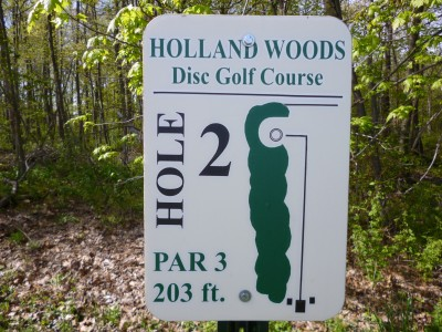 Holland Woods, Main course, Hole 2 Hole sign