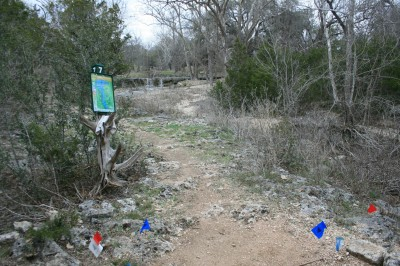 Circle R Disc Golf Ranch, Rolling Meadows, Hole 7 Long tee pad