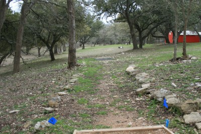 Circle R Disc Golf Ranch, Rolling Meadows, Hole 1 Long tee pad
