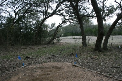 Circle R Disc Golf Ranch, Rolling Meadows, Hole 17 Long tee pad
