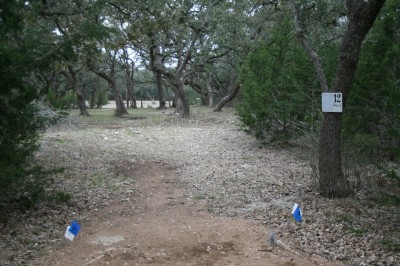 Circle R Disc Golf Ranch, Rolling Meadows, Hole 12 Long tee pad