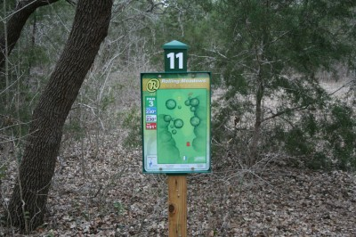 Circle R Disc Golf Ranch, Rolling Meadows, Hole 11 Hole sign