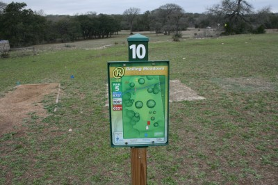 Circle R Disc Golf Ranch, Rolling Meadows, Hole 10 Long tee pad