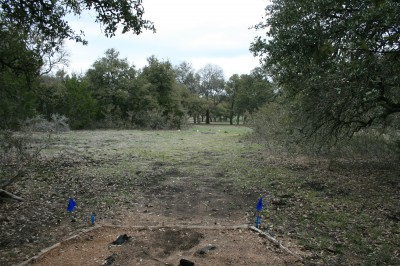 Circle R Disc Golf Ranch, Rolling Meadows, Hole 3 Long tee pad