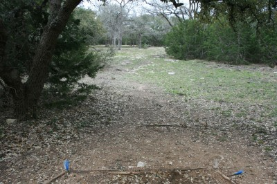 Circle R Disc Golf Ranch, Rolling Meadows, Hole 5 Long tee pad