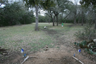 Circle R Disc Golf Ranch, Rolling Meadows, Hole 6 Long tee pad