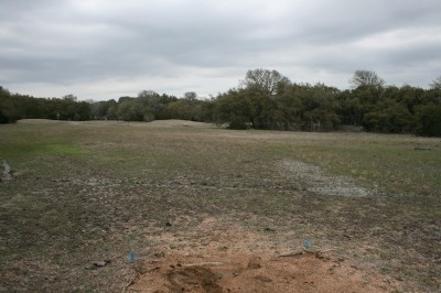 Circle R Disc Golf Ranch, Rolling Meadows, Hole 18 Long tee pad