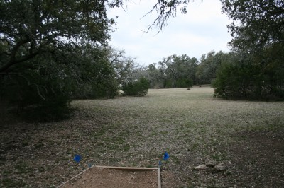 Circle R Disc Golf Ranch, Rolling Meadows, Hole 14 Long tee pad