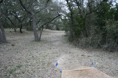 Circle R Disc Golf Ranch, Rolling Meadows, Hole 13 Long tee pad