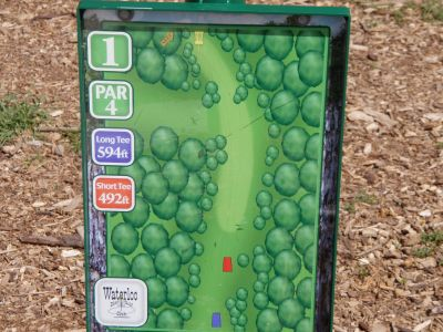 Slaughter Creek Metro Park (Circle C), Main course, Hole 1 Hole sign
