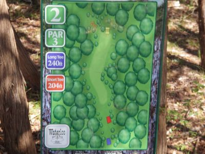 Slaughter Creek Metro Park (Circle C), Main course, Hole 2 Hole sign