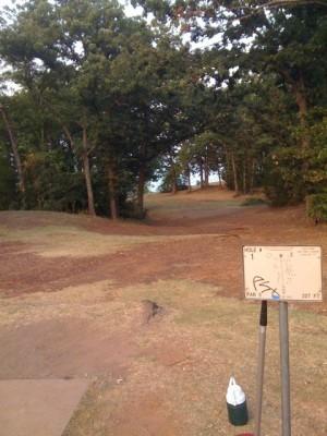 Lake Lewisville Park, Main course, Hole 1 Tee pad