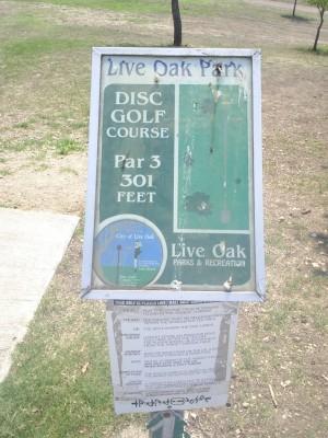 Live Oak City Park, Main course, Hole 1 Hole sign