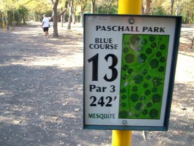 Paschall Park, Main course, Hole 13 Hole sign