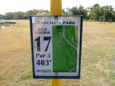 Paschall Park, Main course, Hole 17 Hole sign
