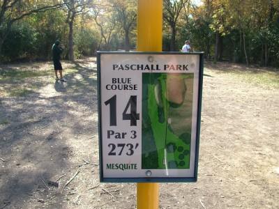 Paschall Park, Main course, Hole 14 Hole sign