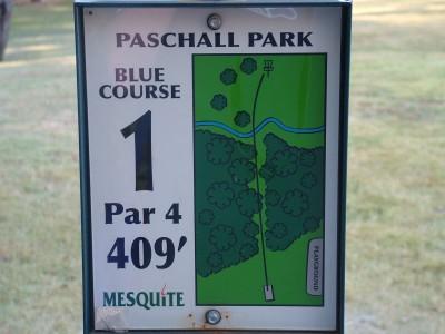 Paschall Park, Main course, Hole 1 Hole sign