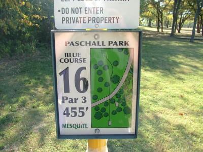Paschall Park, Main course, Hole 16 Hole sign