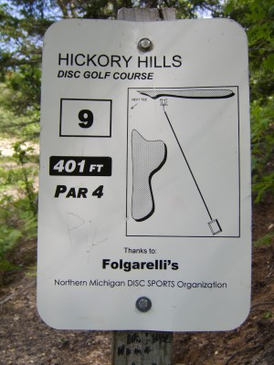 Hickory Hills, Main course, Hole 9 Hole sign