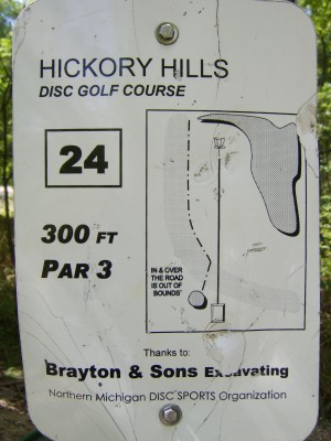 Hickory Hills, Main course, Hole 24 Hole sign