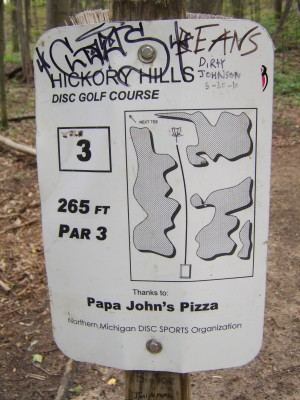 Hickory Hills, Main course, Hole 3 Hole sign